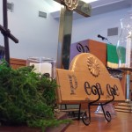 Picture of Peace sign on altar table with communion set